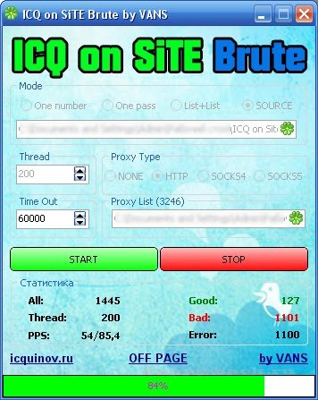 ICQ on SiTE brute