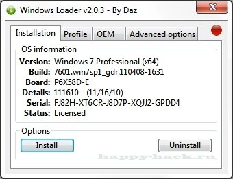 Windows Loader 2.1.7 by Daz