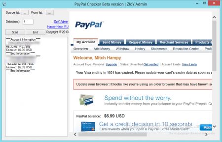 PayPal Checker Beta version 2 | ZloY.Admin (UPD 29.09.12)